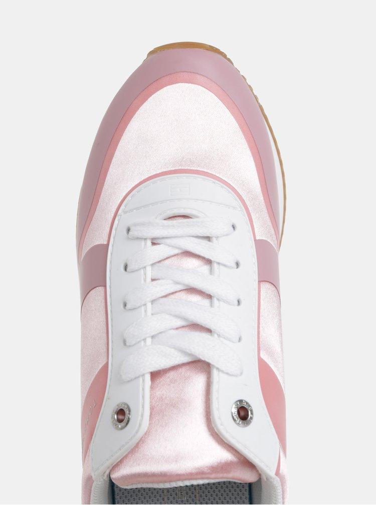 Růžové dámské tenisky s koženými detaily Tommy Hilfiger