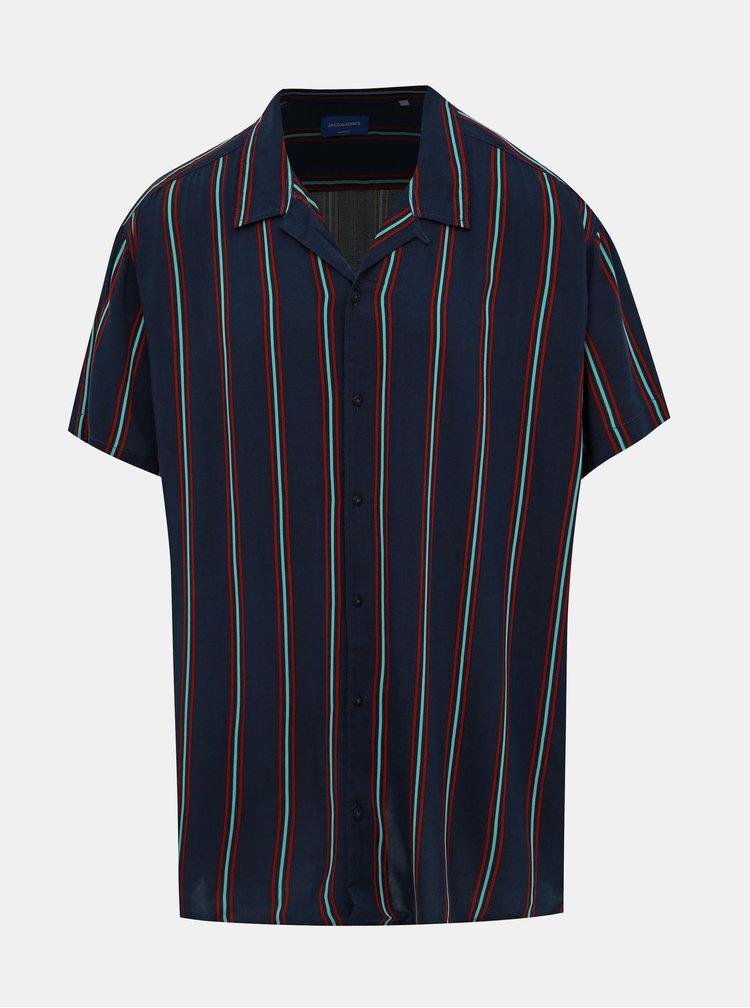 Tmavě modrá pruhovaná košile Jack & Jones Charlie