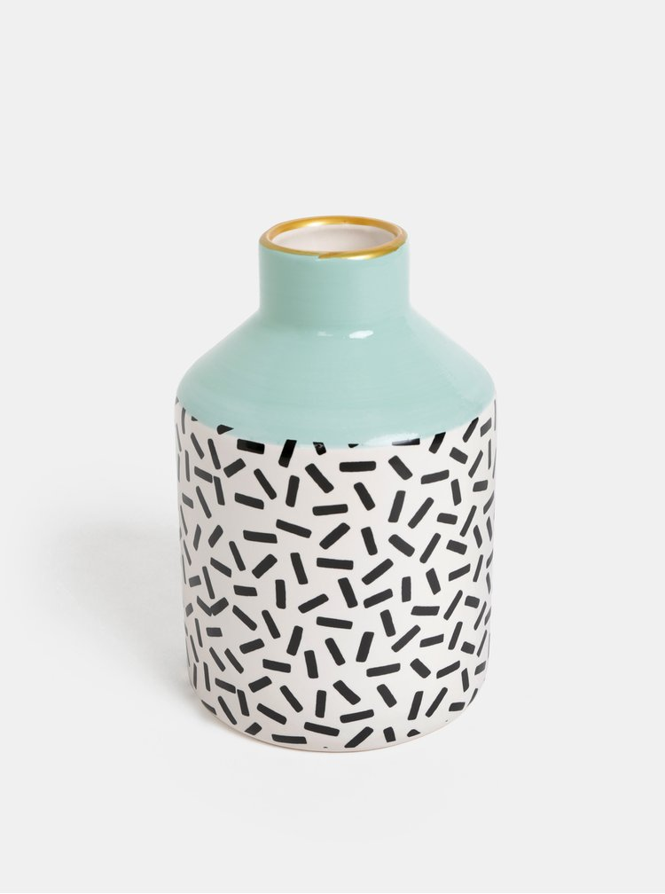 Bielo-zelená vzorovaná váza Sass & Belle