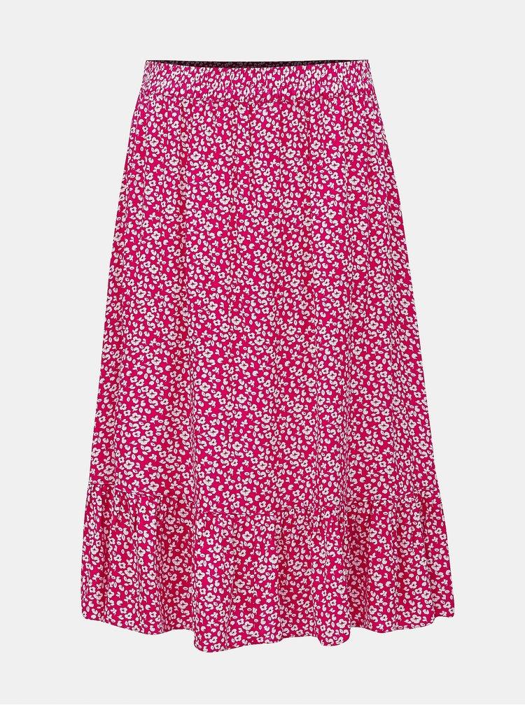 Ružová kvetovaná sukňa Jacqueline de Yong Star Frill