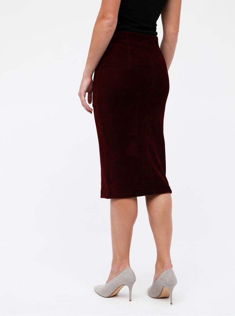 Vínová manšestrová sukně TALLY WEiJL Cojimi
