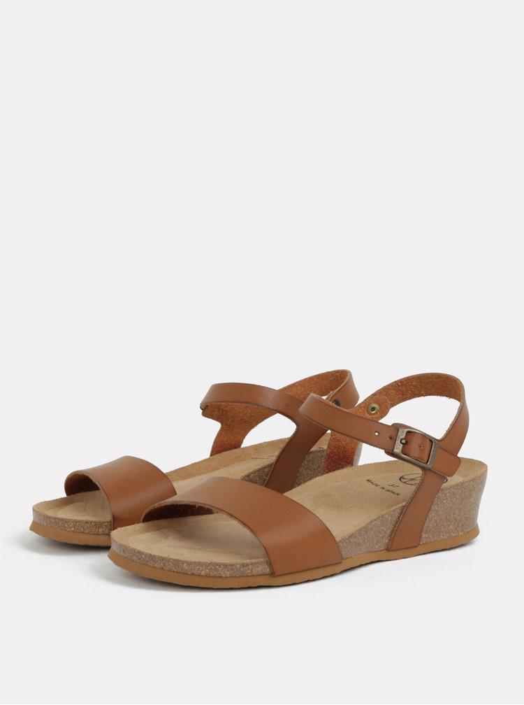 Světle hnědé sandály na klínku OJJU