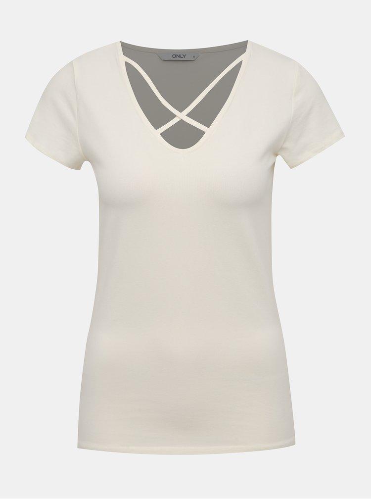 Krémové tričko s pásky v dekoltu ONLY Live