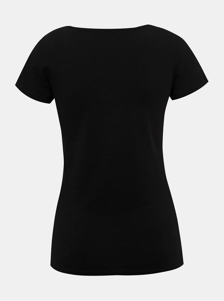 Čierne tričko s pásikmi v dekolte ONLY Live