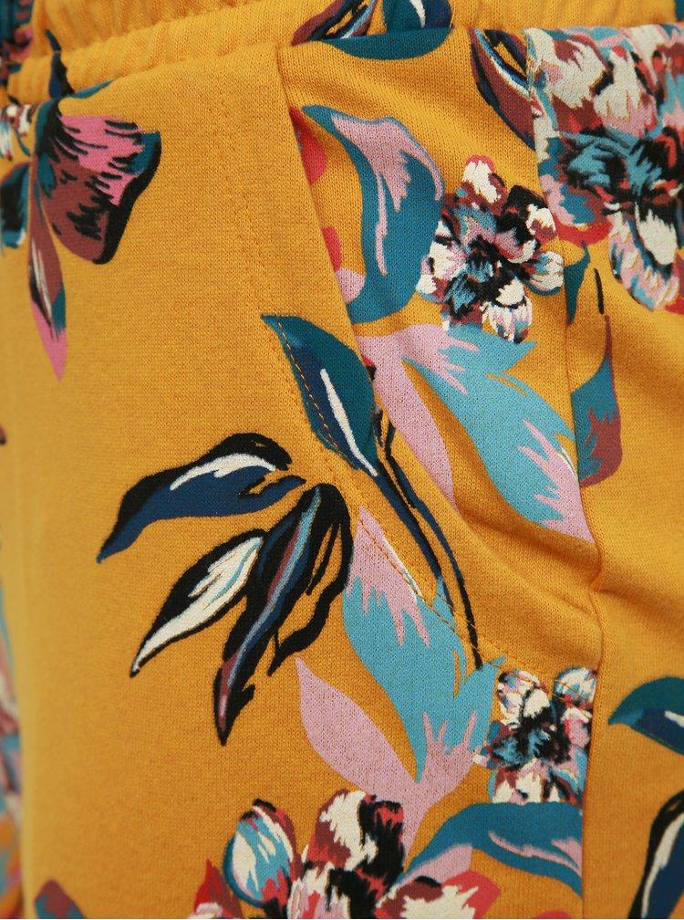 Horčicové kvetované kraťasy ONLY Birdy