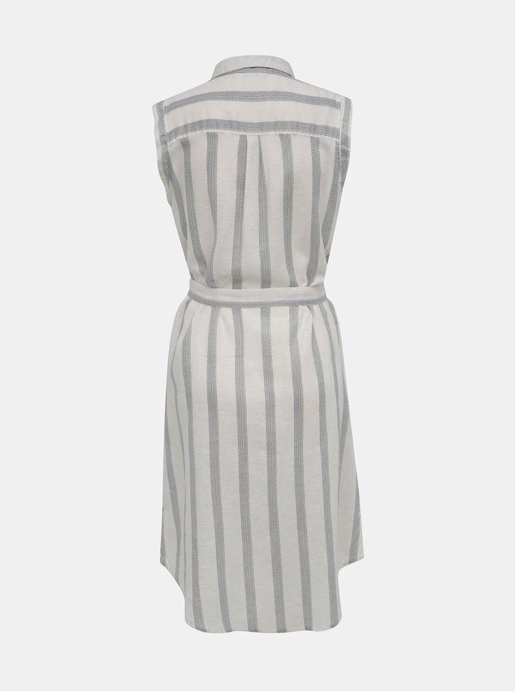 Čierno-biele pruhované košeľové šaty s prímesou ľanu ONLY Salli Life