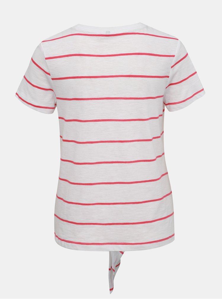 Biele pruhované tričko s potlačou ONLY Bine