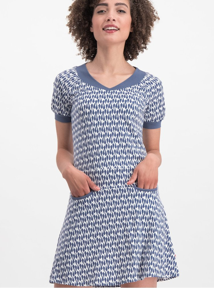 Bílo-modré vzorované šaty Blutsgeschwister