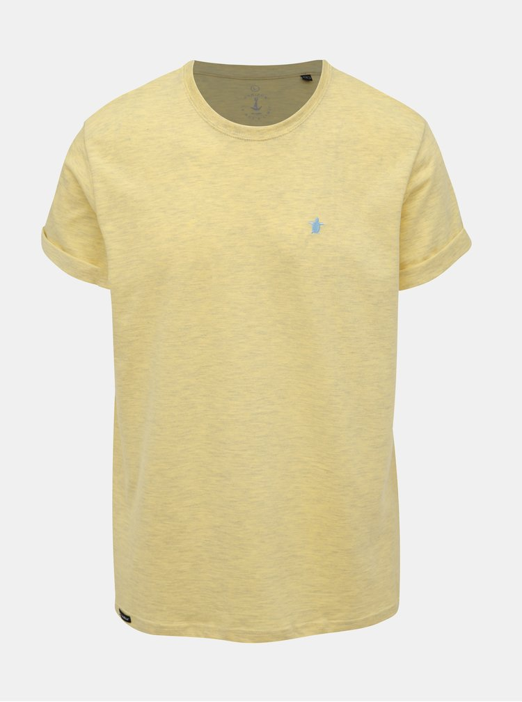 Žluté žíhané basic tričko s výšivkou Mr. Sailor