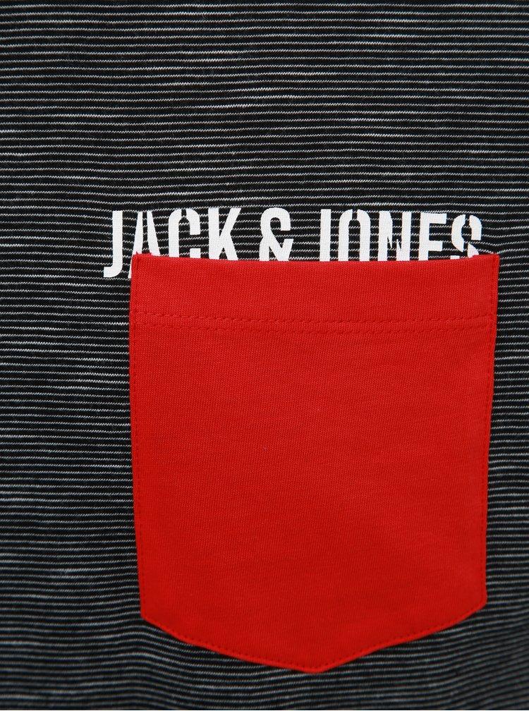 Čierne pruhované tričko Jack & Jones Pocketer
