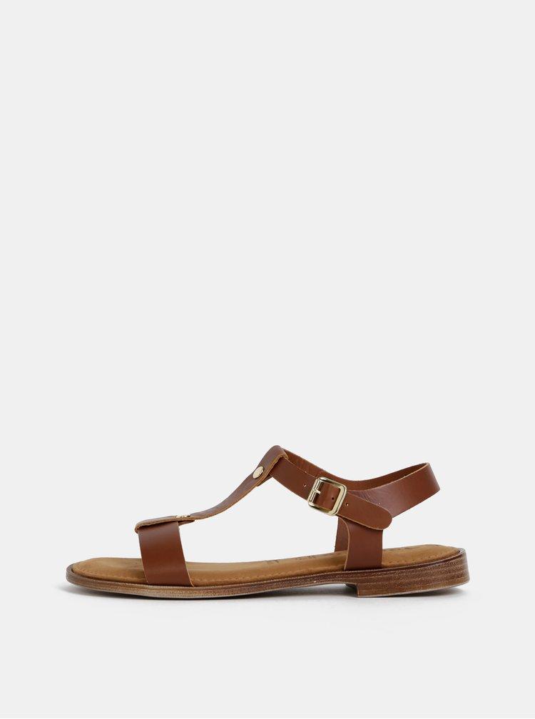 Hnedé kožené sandále Tamaris