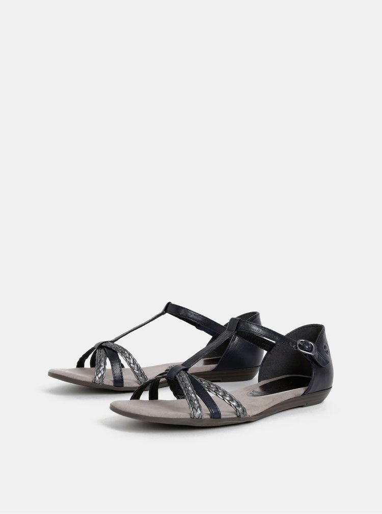 Šedo-čierne kožené sandále Tamaris