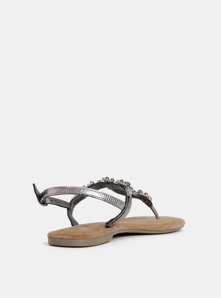 Kožené sandály ve stříbrné barvě s ozdobnou aplikací Tamaris