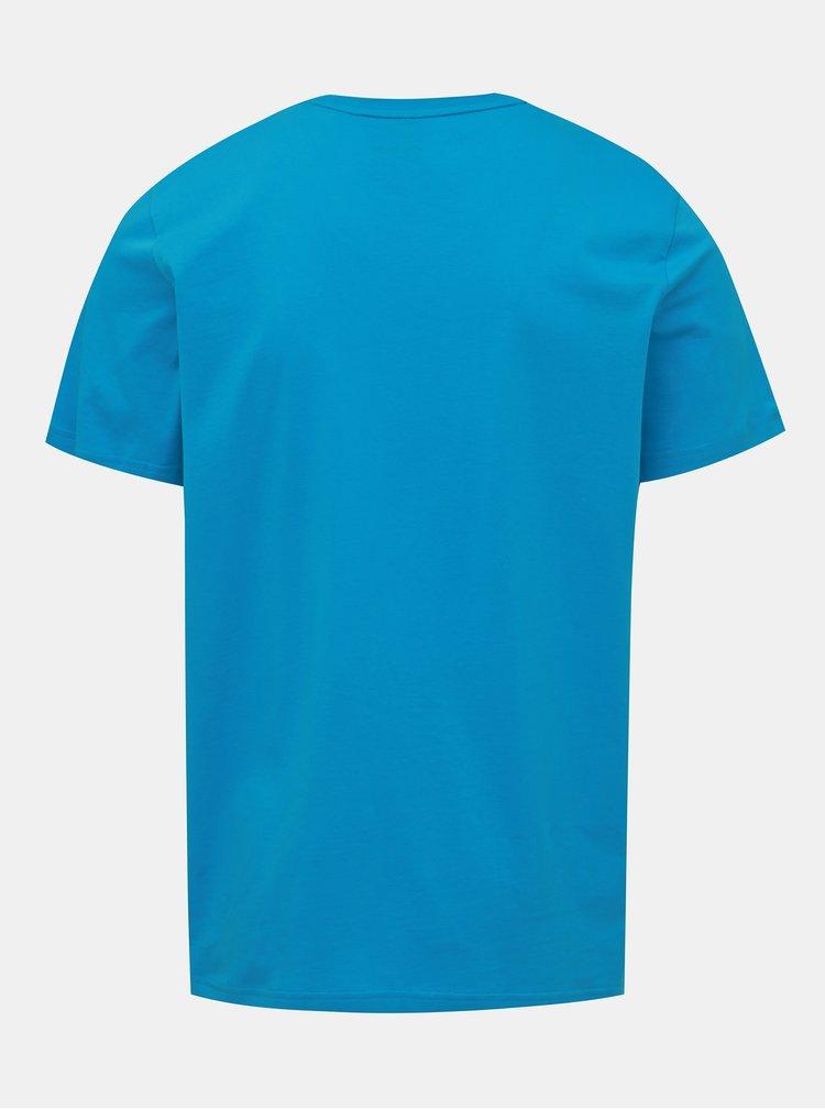 Modré pánské tričko s potiskem adidas Performance Bos