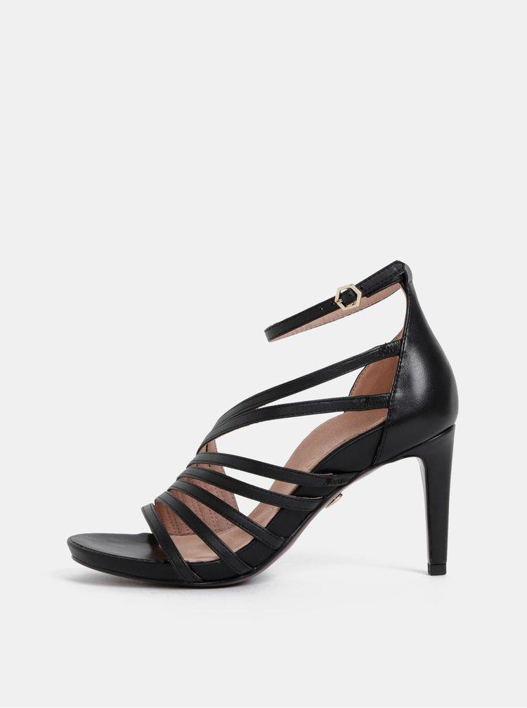 Čierne kožené sandálky Tamaris