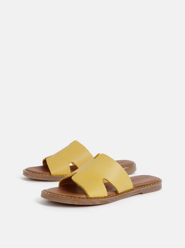 Žluté kožené pantofle Tamaris
