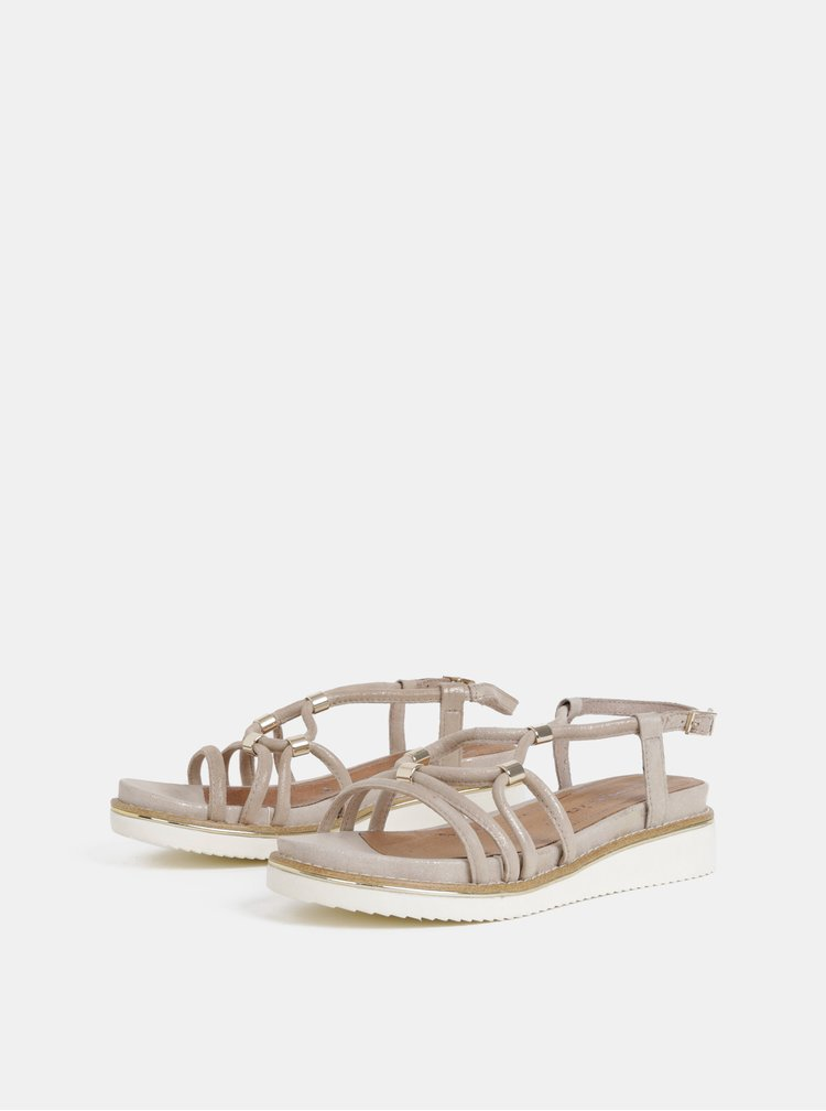 Béžové semišové sandály na klínku Tamaris