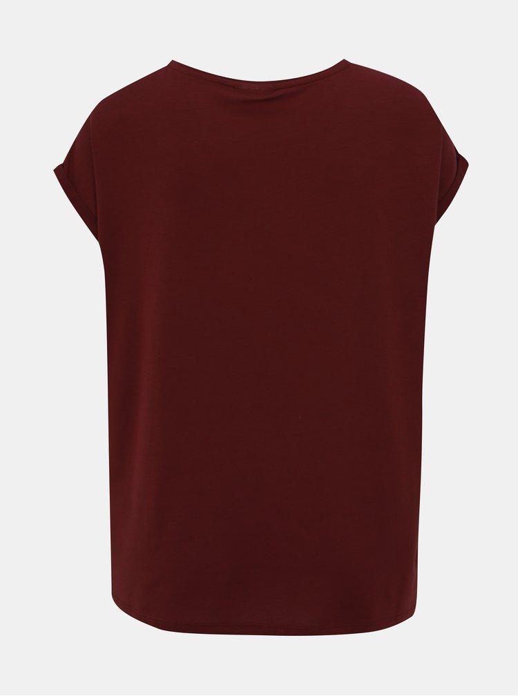 Vínové basic tričko AWARE by VERO MODA Ava