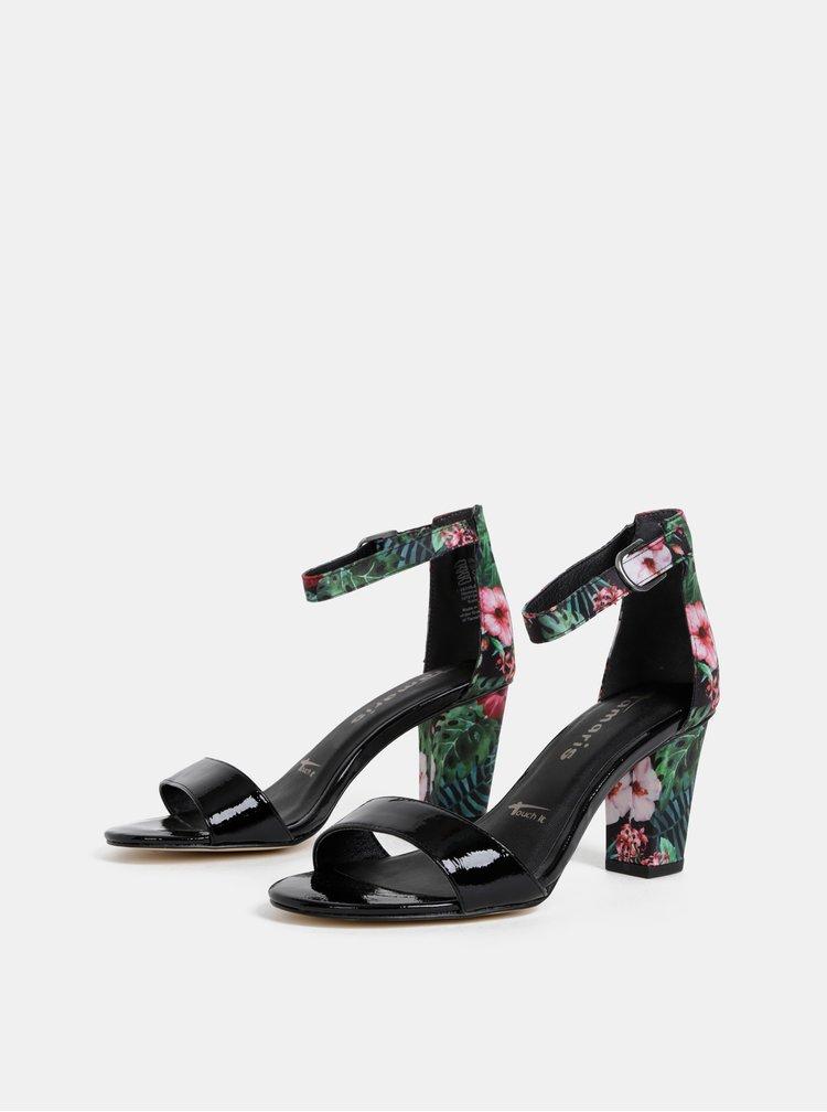 Zeleno-černé květované sandálky Tamaris