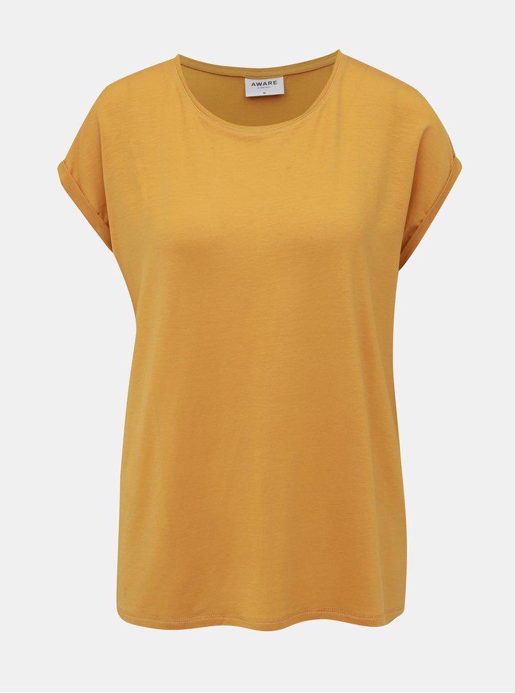 Hořčicové basic tričko AWARE by VERO MODA Ava