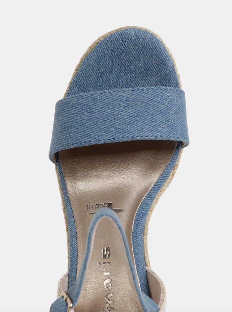 Modré sandálky na plnom podpätku Tamaris