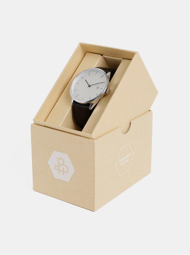Ceas unisex argintiu cu curea neagra din piele CHPO Khorshid Silver