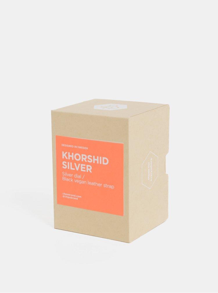 Hodinky s čiernym remienkom CHPO Khorshid Silver