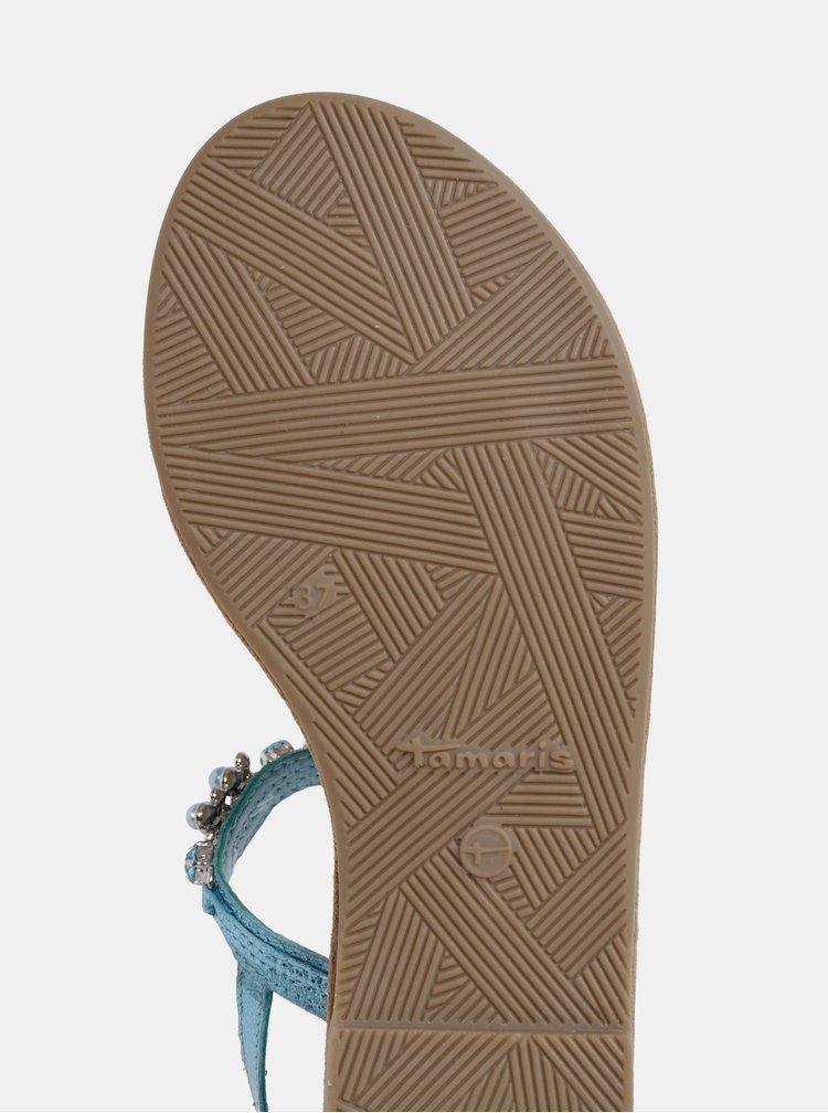 Tyrkysové kožené sandále s ozdobnou aplikáciou Tamaris