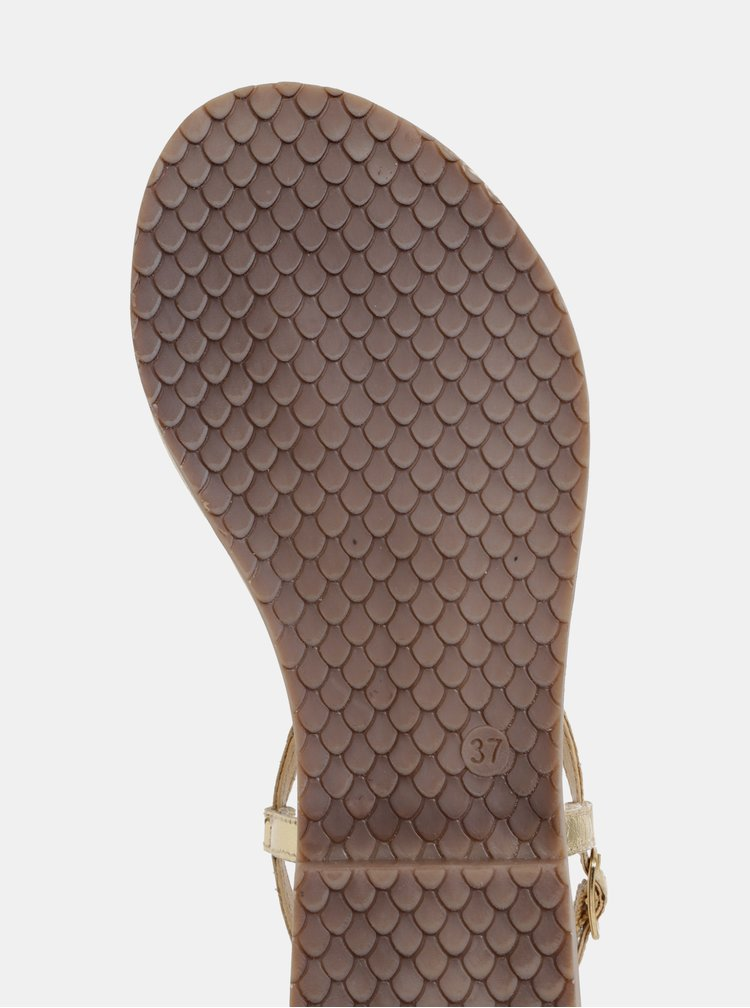 Kožené sandále ve zlatej farbe Tamaris