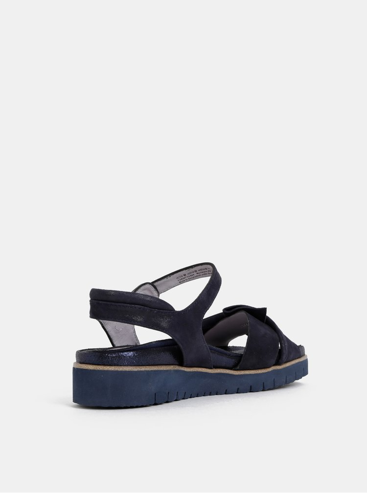 Tmavě modré kožené sandály Tamaris