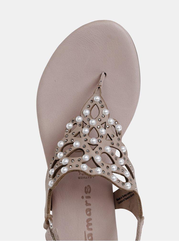 Béžové sandály s kamínky Tamaris