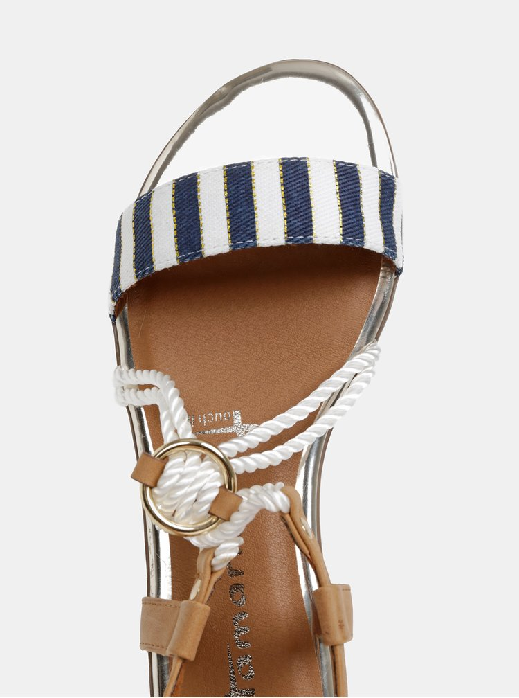 Bílo-modré pruhované sandály Tamaris