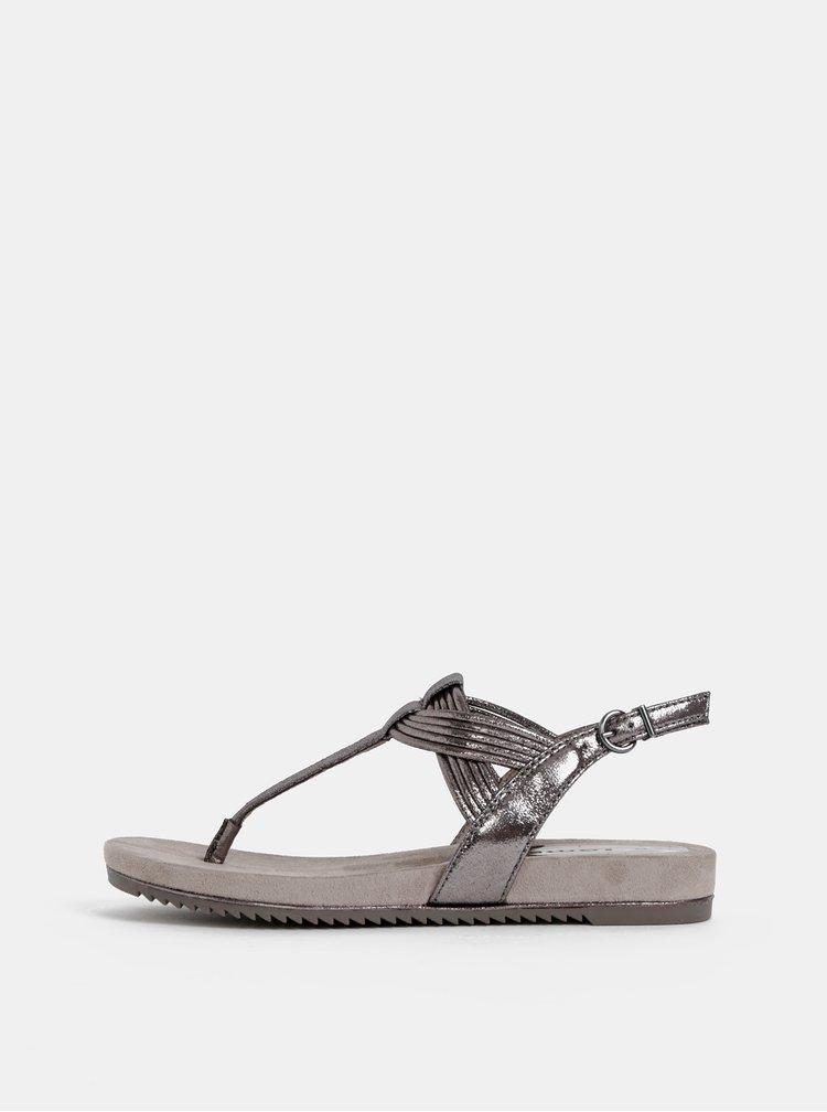 Tmavošedé metalické sandále Tamaris