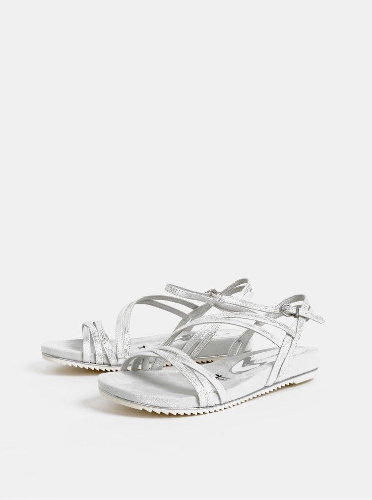 Svetlošedé metalické sandále Tamaris