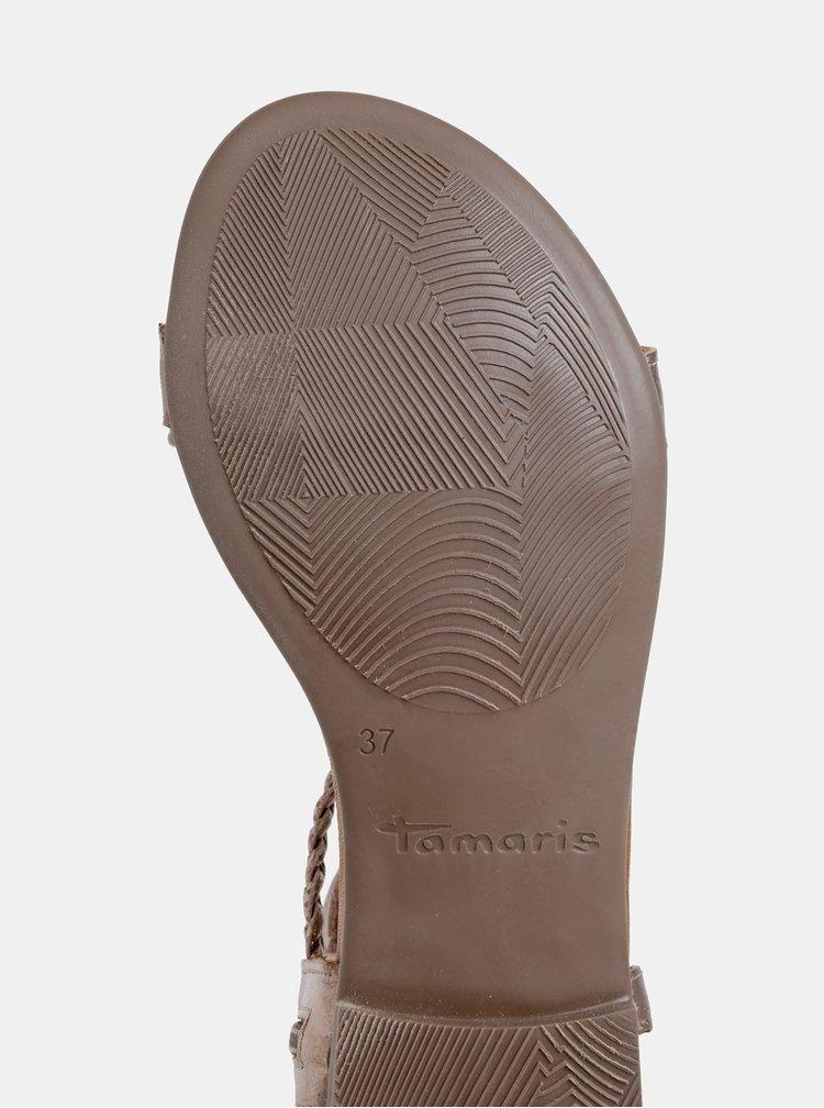 Hnedé metalické kožené sandále Tamaris