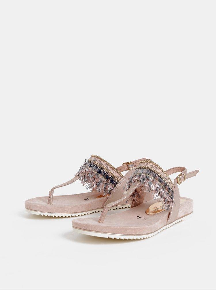 Svetloružové sandále so strapcami Tamaris
