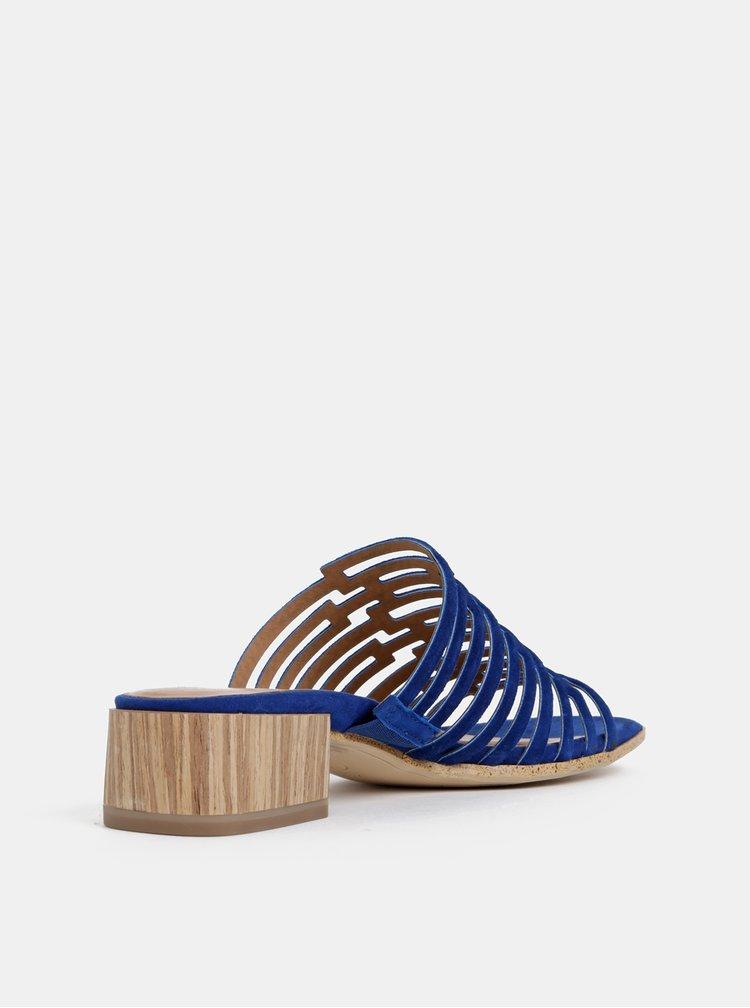 Tmavě modré semišové pantofle Tamaris