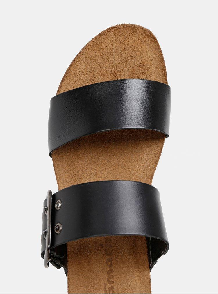 Čierne kožené šľapky na plnom podpätku Tamaris