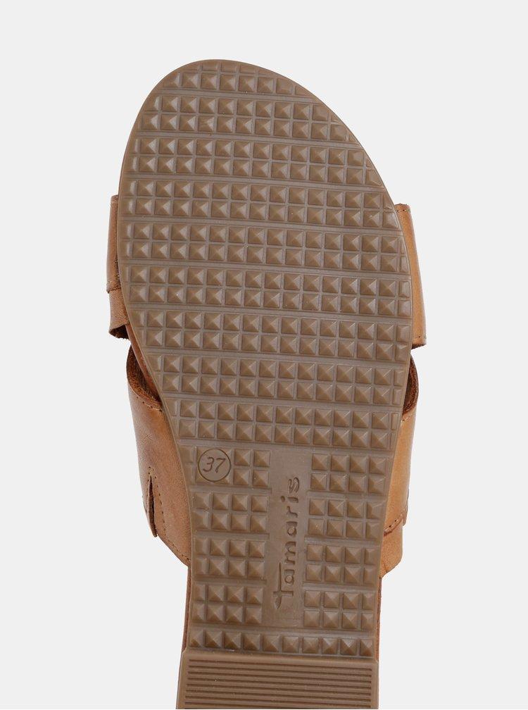 Hnědé kožené pantofle Tamaris