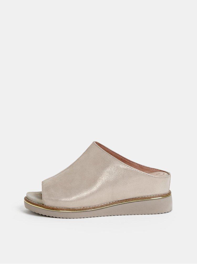 Krémové semišové pantofle na klínku Tamaris