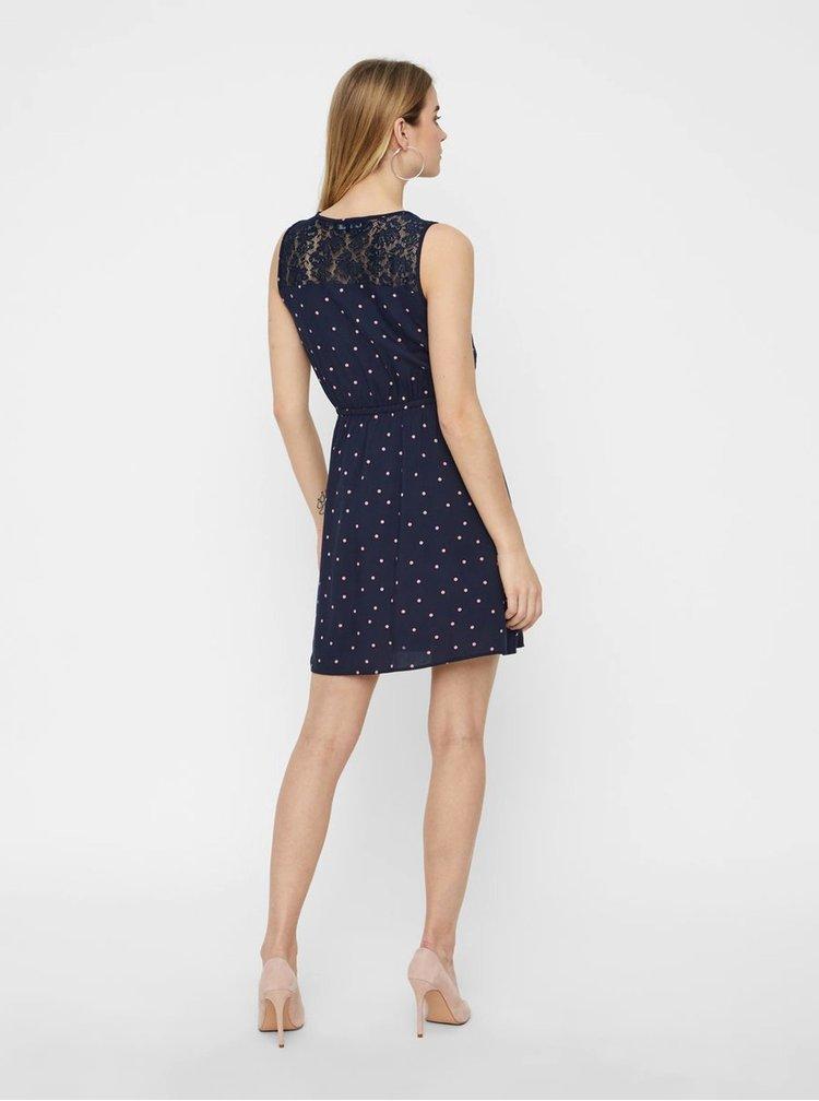 Tmavě modré puntíkované šaty VERO MODA Boca