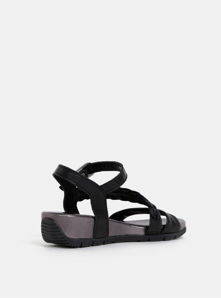 Černé kožené sandály na klínku Tamaris