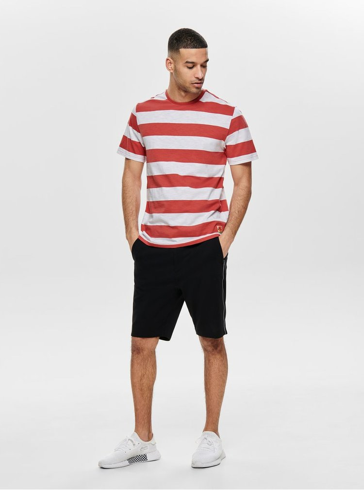 Tricou alb-rosu in dungi ONLY & SONS Patterson