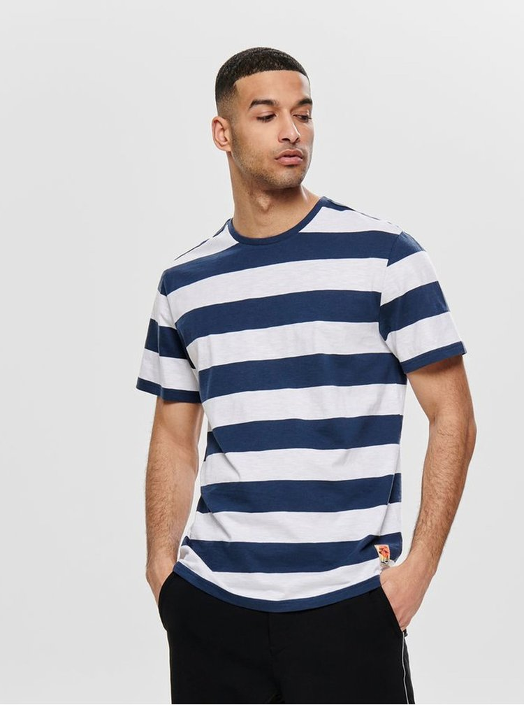 Tricou alb-albastru in dungi ONLY & SONS Patterson