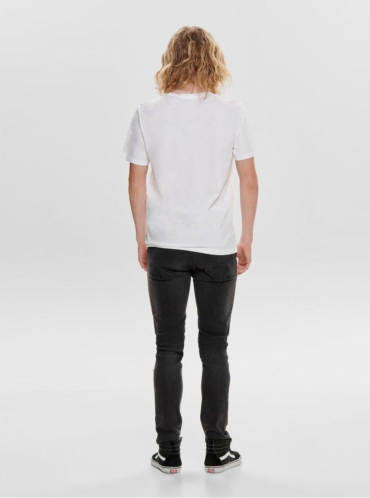 Tricou alb cu imprimeu ONLY & SONS Petal