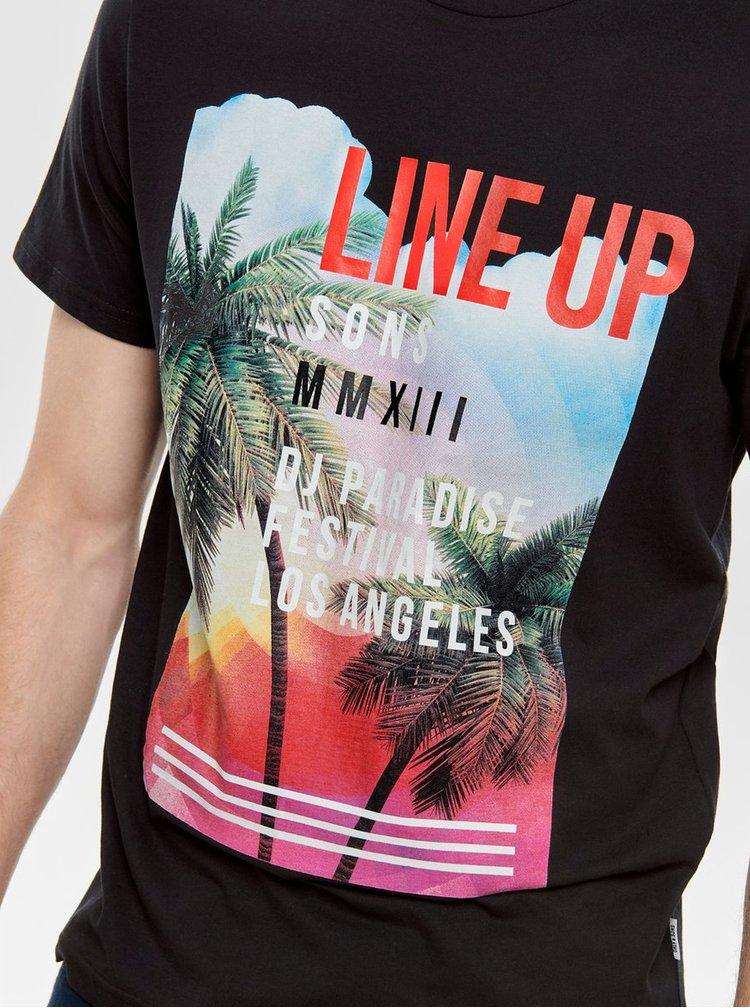 Tricou negru cu imprimeu ONLY & SONS Pacifica