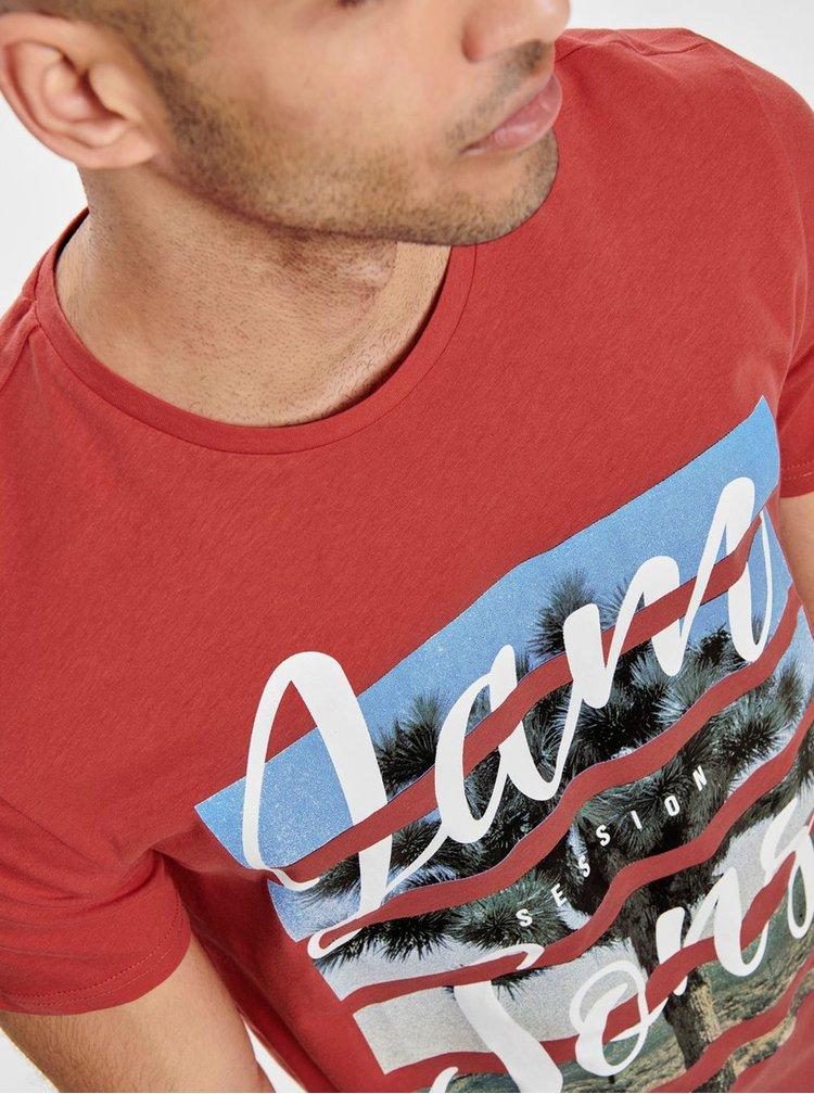 Červené tričko s potiskem ONLY & SONS Pacifica
