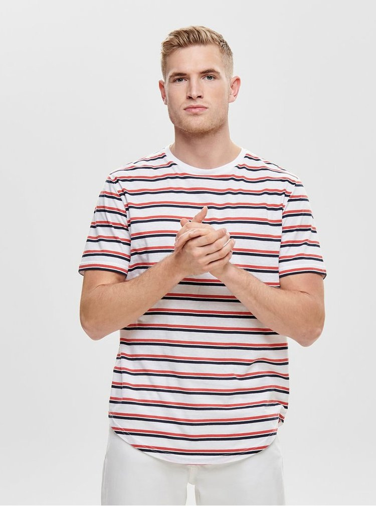Tricou rosu-alb in dungi ONLY & SONS Pacifica