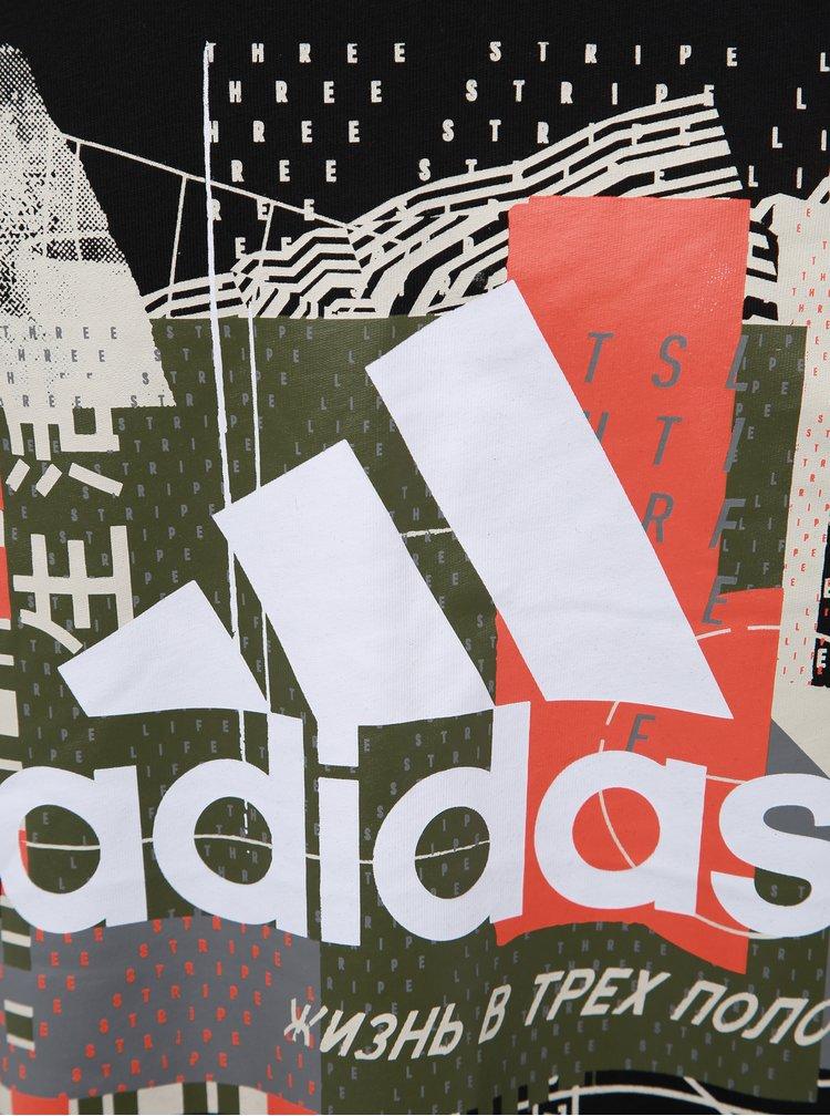 Černé pánské tričko s potiskem adidas Performance Bos