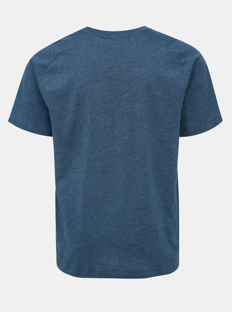 Modré pánské žíhané tričko s potiskem adidas Performance Tee